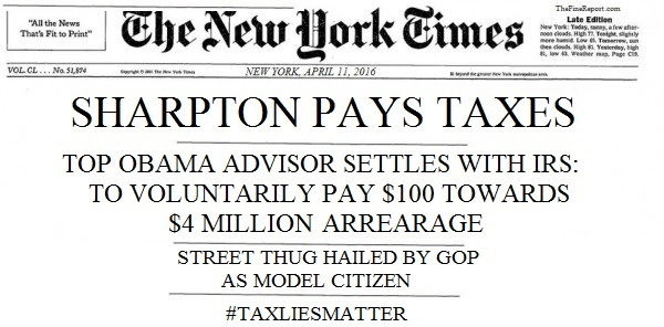Sharpton pays taxes