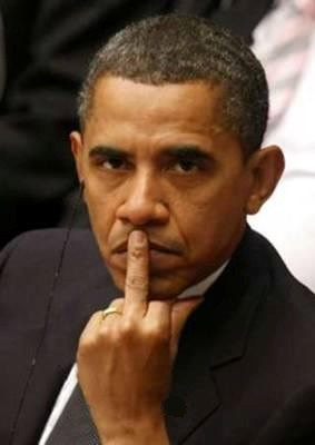 Obama big middle finger