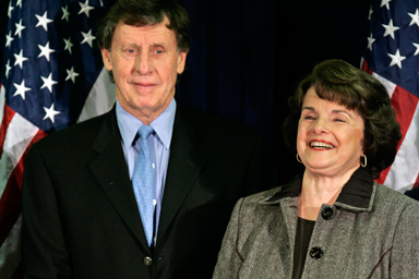 Sen_dianne_feinstein_d_calif_smiles_along_with_her_husband_richard_blum_left_at_a_democratic_election_party_in_san_francisco_tuesday_nov_7_2006