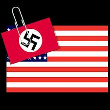 American flag with swastika looming