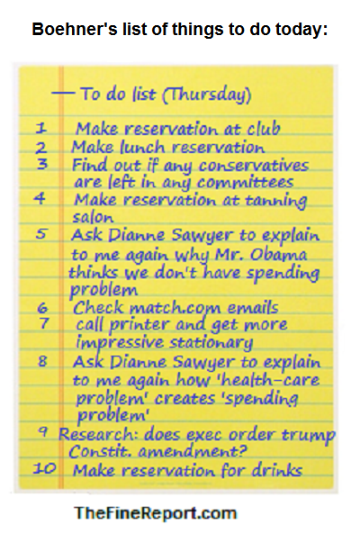 Boehner's list of things to do bigger
