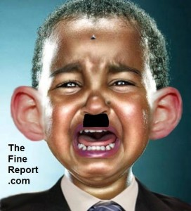 obama cry baby with moustache and fly