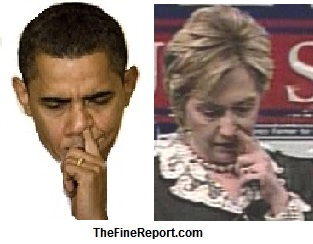 Obama and clinton picking nose