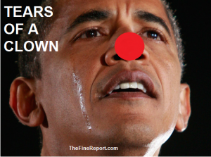 Obama crying with red nose