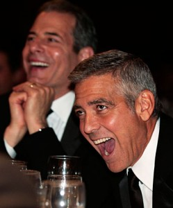 George Clooney laughing harder