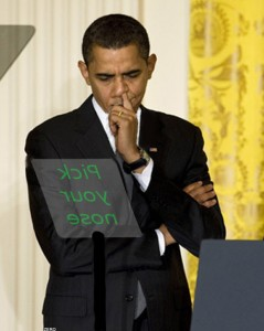 Obama teleprompter pick your nose
