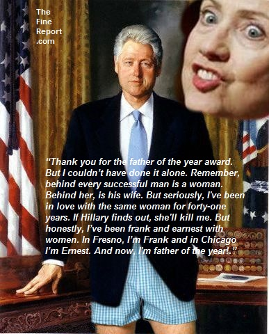 Bill Clinton in underwear with Hillary behind edited