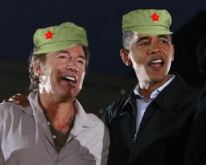 Obama and Springsteen in Mao hats