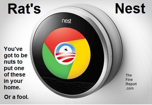 Google thermostat with Obama logo