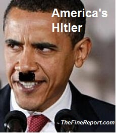 barack-obama with hitler moustache American Hitler
