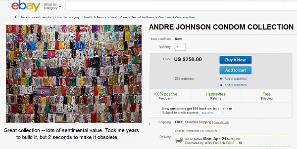 Andre Johnson's condom collection