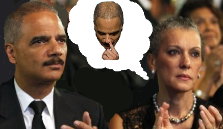 Eric Holder on date picking his nose