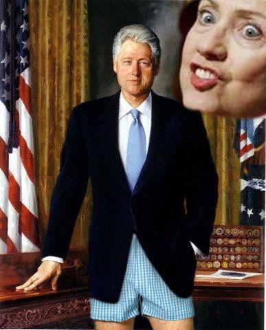Bill Clinton in underwear with Hillary behind