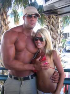 Horny guy grabs boobs