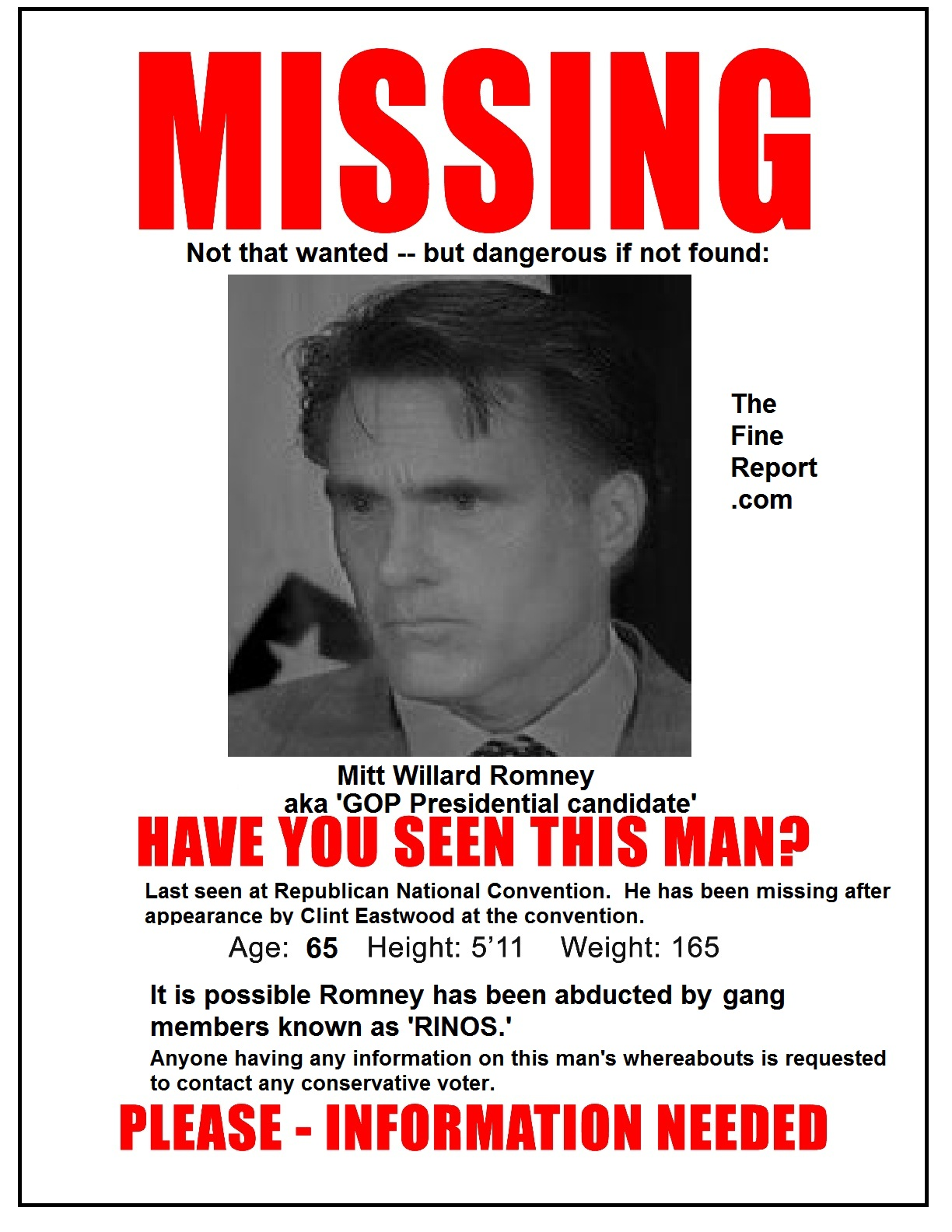MISSING: Mitt Romney  Funny Missing Person Poster